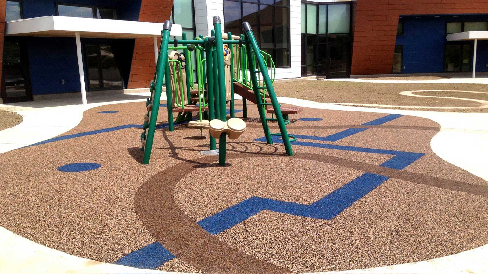 ecoturf surfacing Winnebago poured in place playground surfacing with graphics and designs