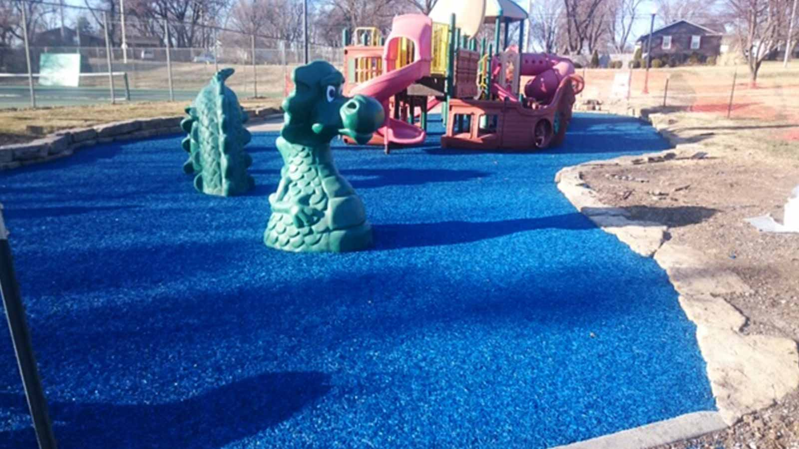 Bonded Rubber Mulch playground surfacing blue shawnee kansas